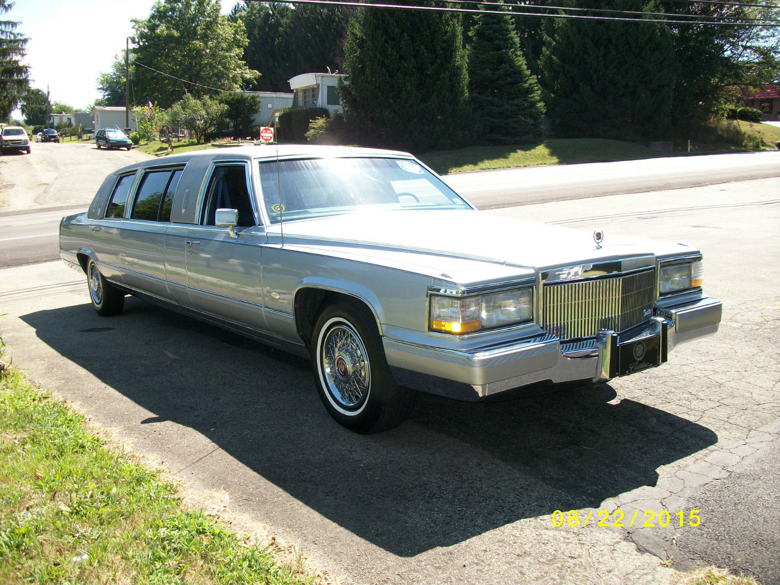 23′ Silver 1990 Cadillac Brougham Limo for sale
